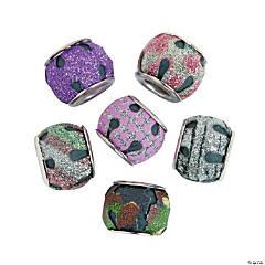 Large Hole Round Glitter Beads - 14mm