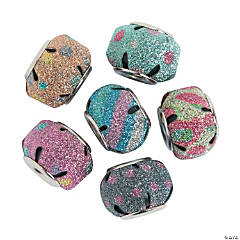 Large Hole Round Glitter Beads - 15mm