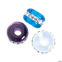 Large Hole Winter Rhinestone Beads - 15mm