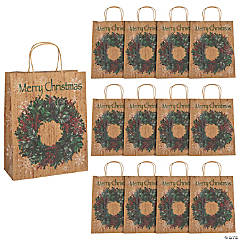 Large Holiday Wreath Kraft Paper Gift Bags