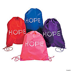 Large Hope Awareness Drawstring Bags