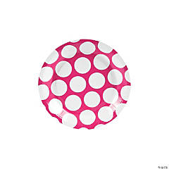 Large Hot Pink Polka Dot Paper Dessert Plates