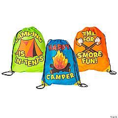 Large I Love Camp Drawstring Bags