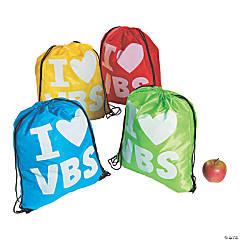 Large I Love VBS Drawstring Bags