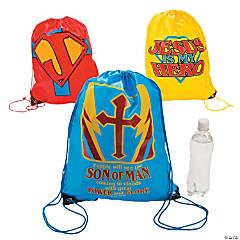 Large Jesus Is My Superhero Drawstring Bags