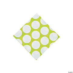 Large Lime Green Polka Dot Beverage Napkins