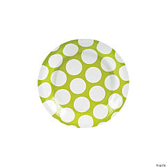 Large Lime Green Polka Dot Paper Dessert Plates