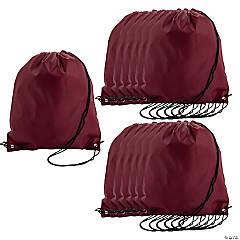 Large Maroon Drawstring Bags