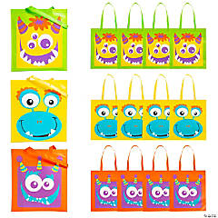 Large Monster Face Tote Bags