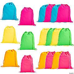 Large Neon Canvas Drawstring Backpacks