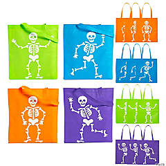 Large Neon Skeleton Tote Bags