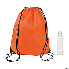 Large Orange Drawstring Bags