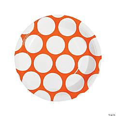 Large Orange Polka Dot Paper Dinner Plates