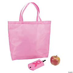 Large Pink Ribbon Fold Away Shopping Tote Bags