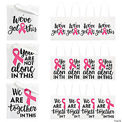 Large Pink Ribbon Inspirational Tote Bags