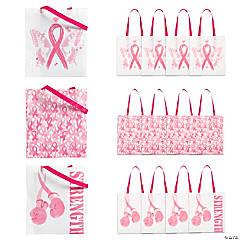 Large Pink Ribbon Tote Bags