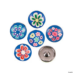Large Polymer Blue Snap Beads with Flowers - 17mm