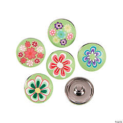 Large Polymer Green Snap Beads with Flowers - 17mm