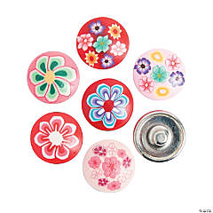 Large Polymer Pink & Red Snap Beads with Flowers - 17mm