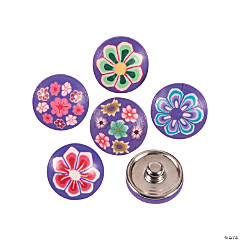Large Polymer Purple Snap Beads with Flowers - 17mm
