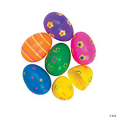 Large Printed Bright Plastic Easter Eggs