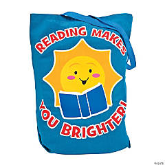 Large Reading Makes You Brighter Canvas Book Tote Bags