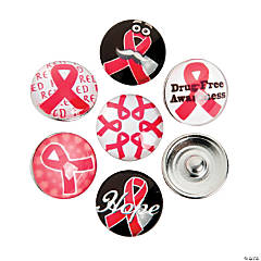 Large Red Awareness Ribbon Snap Beads