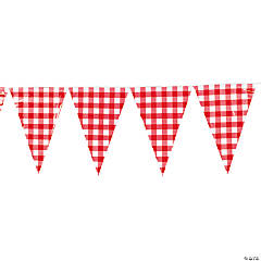 Large Red Gingham Vinyl Pennant Banner