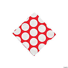 Large Red Polka Dot Beverage Napkins