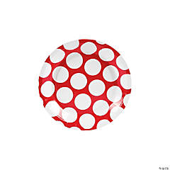 Large Red Polka Dot Paper Dessert Plates