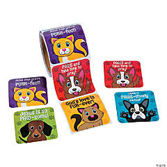 Large Religious Pet Stickers Roll
