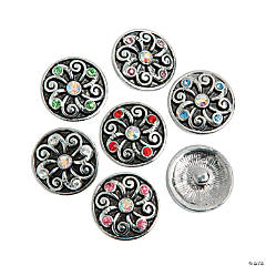 Large Rhinestone Center Snap Beads - 20mm
