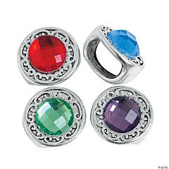 Large Round Rhinestone Slide Charms