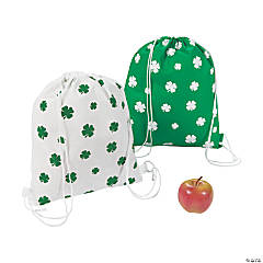 Large Shamrock Printed Drawstring Bags