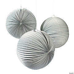 Large Silver Hanging Paper Lanterns