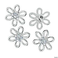 Large Silvertone Daisy Snap Beads - 20mm