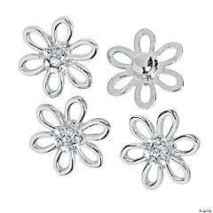 Large Silvertone Daisy Snap Beads - 20mm