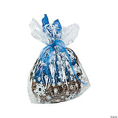 Large Snowflake Print Basket Cellophane Bag Assortment