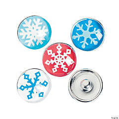 Large Snowflake Snap Beads - 18mm
