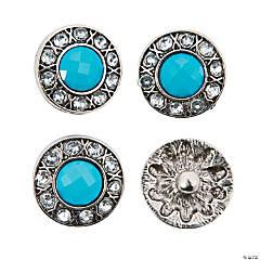Large Turquoise Snap Beads with Rhinestones