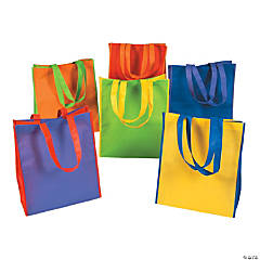 Large Two-Tone Panel Tote Bags