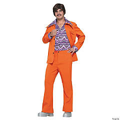Leisure Suit 70s Orange Adult Men's Costume