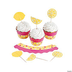 Lemonade Party Cupcake Wrappers with Picks