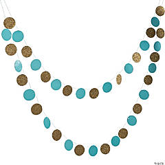 Light Blue & Gold Glitter Circle Garland