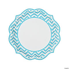 Light Blue Chevron Scalloped Paper Dinner Plates