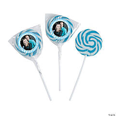 Light Blue Custom Photo Swirl Lollipops