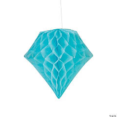 Light Blue Diamond Tissue Paper Hanging Decorations
