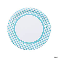 Light Blue Gingham Dinner Plates