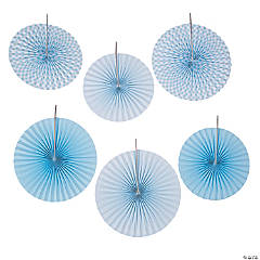 Light Blue Gingham Hanging Fans