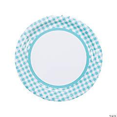 Light Blue Gingham Paper Dinner Plates